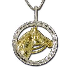 Charm Horse Head Round Sterling Silver on Box Chain