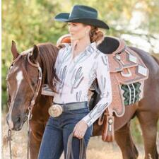 Hobby Horse Saguaro Ladies Western Show Blouse - TB