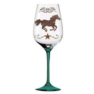 Wine Glass Cowboy Up Hand Painted