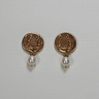 Jeweled Pony Bronze Horseshoe with White Pearl Drop Earrings