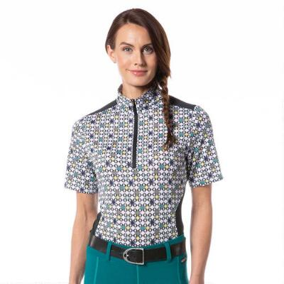 Kerrits Ice Fil Lite Short Sleeve Ladies Quarter Zip - Emerald Bits