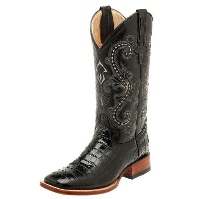 Belly Gator Print Black Mens Western Boot