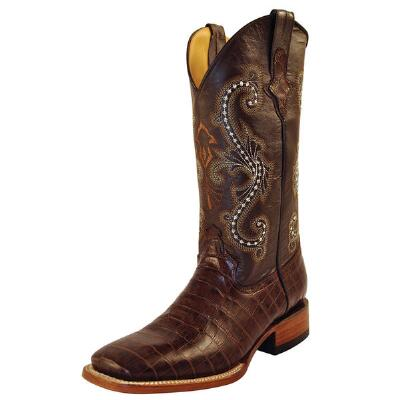 Belly Gator Print Chocolate Mens Western Boot