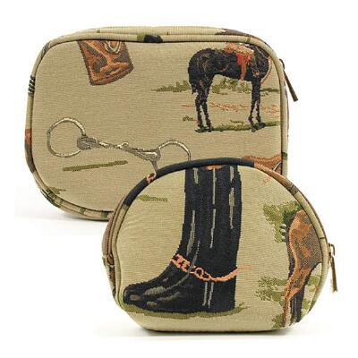 Equestrian Tapestry Cosmetic Bag Set