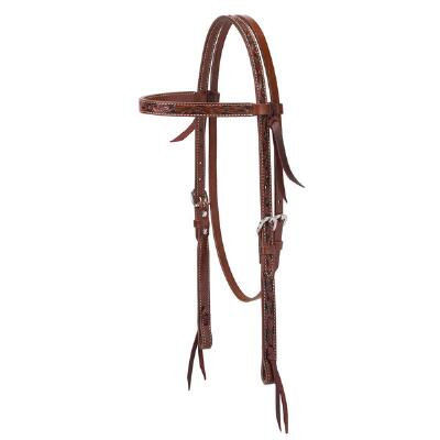 Weaver Turquoise Cross Floral Carved Browband Headstall