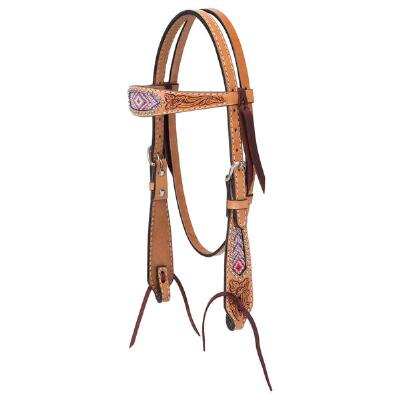 Weaver Turquoise Cross Pink Beaded Pony Browband Headstall