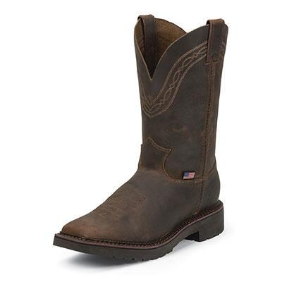 Justin J-Max Caliber Tan Crazyhorse Mens Work Boots
