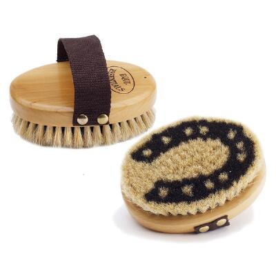 Equi-Essentials Wood Backed Horseshoe Horsehair Body Brush