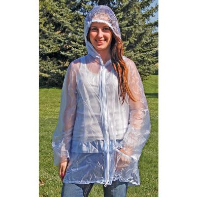 Raincoat Hooded Pvc Ladies Clear