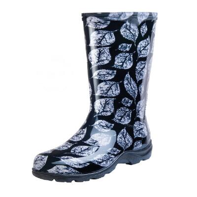Black Leaf Ladies Tall Rubber Boot