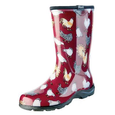 Ladies Tall Rubber Boot Red Barn Chicken