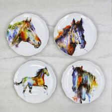 Watercolor Horse Appetizer Plate - Set of 4 - TB