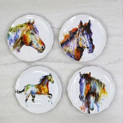 Watercolor Horse Appetizer Plate - Set of 4