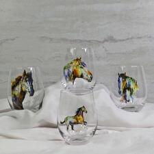 Watercolor Horse Stemless Wine Glasses - Set of 4 - TB