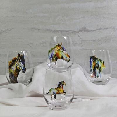 Watercolor Horse Stemless Wine Glasses - Set of 4