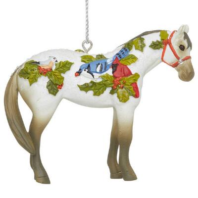Painted Ponies Winter Feathers Ornament