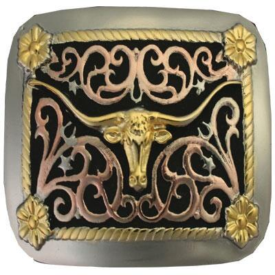 Attitude Belt Buckle Tri-Color Longhorn
