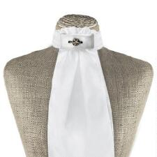 Beaded White Piped Stock Tie - TB