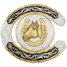 Horseshoe Shaped Belt Buckle Horse Head