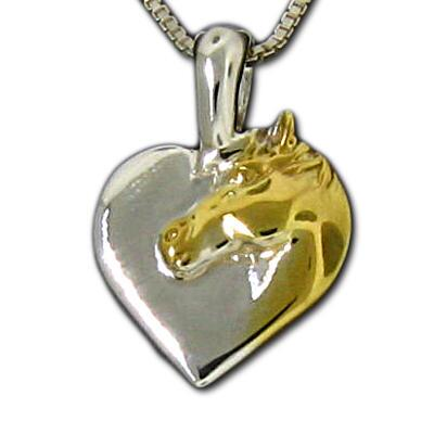 Charm Solid Heart With Horsehead Sterling Silver