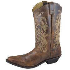 Madison Brown Distress Leather Snip Toe Ladies Western Boot - TB