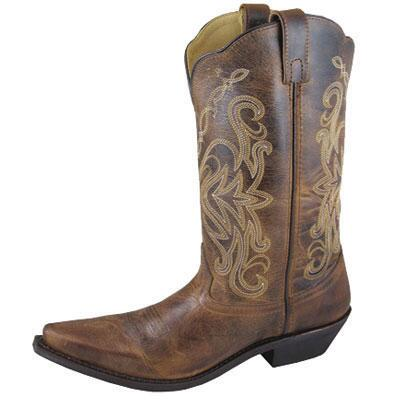 Madison Brown Distress Leather Snip Toe Ladies Western Boot