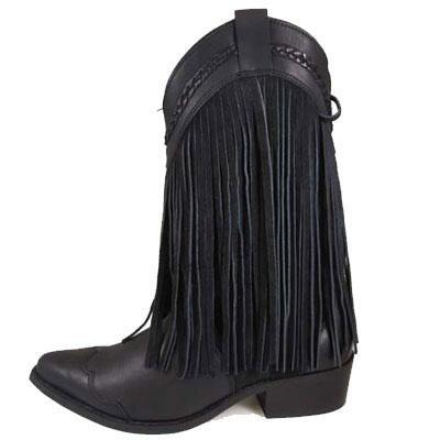 Rosie Black Leather Fringe Ladies Western Boot
