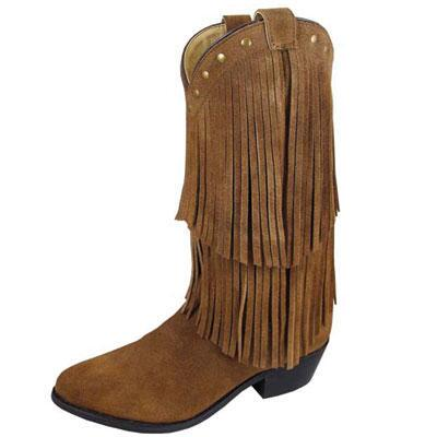 Wisteria Brown Leather Double Fringe Ladies Western Boot