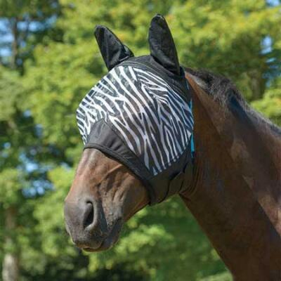 Shires Fine Mesh Zebra Print Fly Mask with Ears