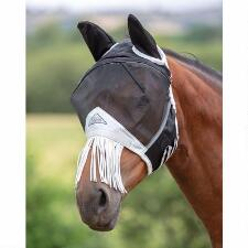 Shires Fine Mesh Black Fly Mask with Ears and Fringe - TB