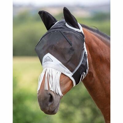 Shires Fine Mesh Black Fly Mask with Ears and Fringe