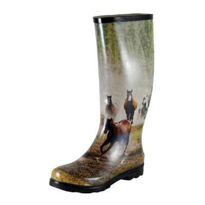 Smoky Mountain Running Horse Print Ladies Rubber Boot
