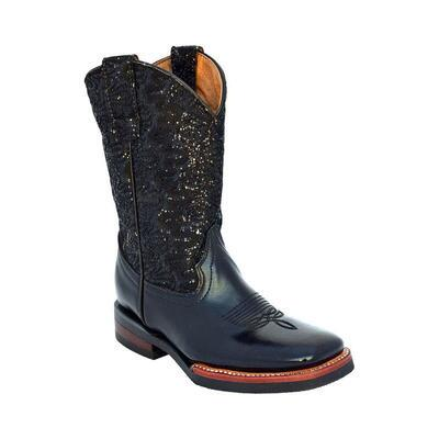 Ferrini Cowhide Black Sparkle Girls Western Boot