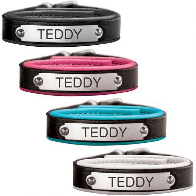 Perris Leather Padded Bracelet with Custom Engrave Nameplate