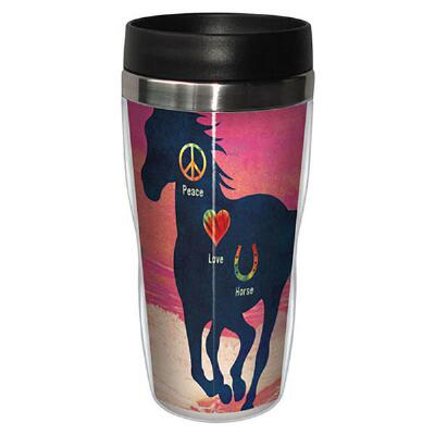 Sip N Go Travel Tumbler Peace Love Horses