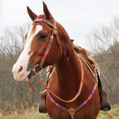 Big Country Tack Jasper Beaded Browband Headstall