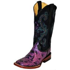 Embossed Purple Ladies Western Boot