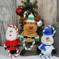 Holiday Dog Plush and Rope Toy - TB