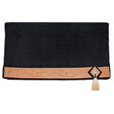 Saddle Blanket Wool With Tooled Leather and Concho