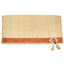 Saddle Blanket Wool With Tooled Leather and Concho - TB