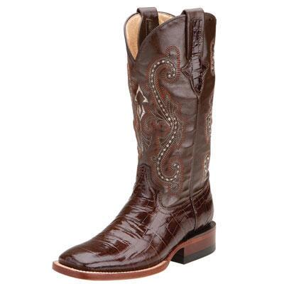 Ferrini Mustang Chocolate Gator Print Ladies Western Boot