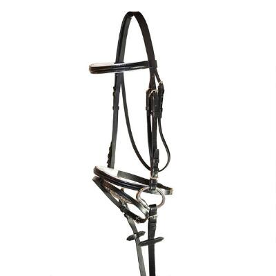 Black Dressage Bridle with White Padding