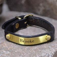 Leather Bracelet With Brass Plate - TB