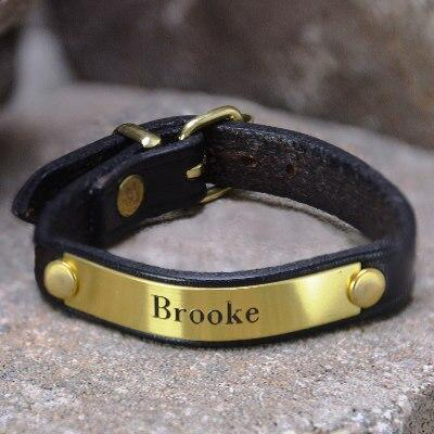 Leather Bracelet With Brass Plate