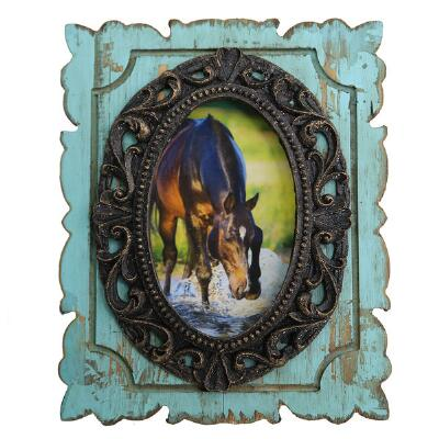 Turquoise Distressed Antiqued 4x6 Picture Frame