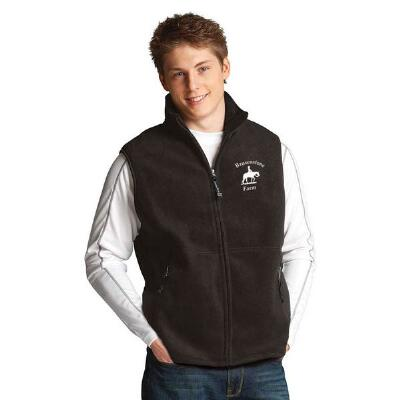 Custom Mens Fleece Vest with Left Chest Embroidery