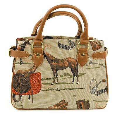 Equestrian Tapestry Zip Top Tote Purse