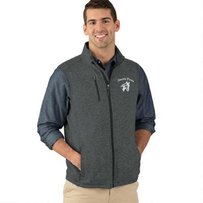 Mens Sweater Fleece Vest with Custom Left Chest Embroidery