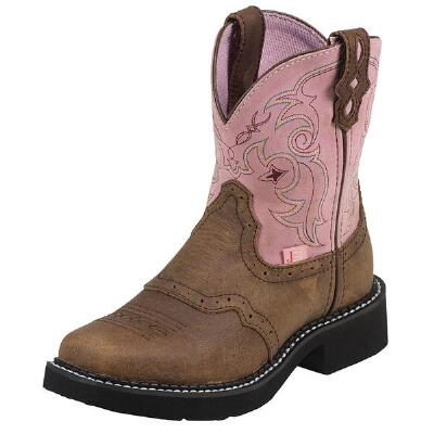 Gypsy Jr Square Toe Bark With Pink Girls Western Boot