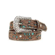 Ariat Tooled Turquoise Inlay Ladies Belt